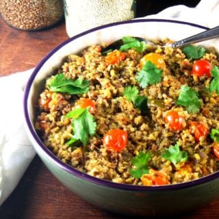 Sprouted Bean and Quinoa Pulao