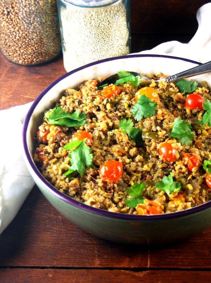 Sprouted Quinoa Bean Pulao, vegan and glutenfree.