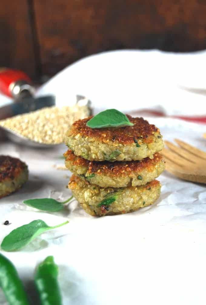 Garlicky Zucchini Quinoa Cakes