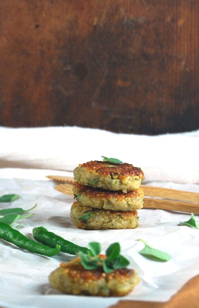 Stack of Garlicky Zucchini Quinoa Cakes