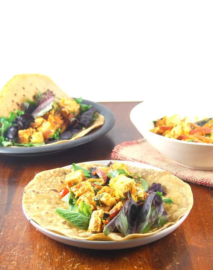 Curried Coconut Tofu Wraps, vegan.