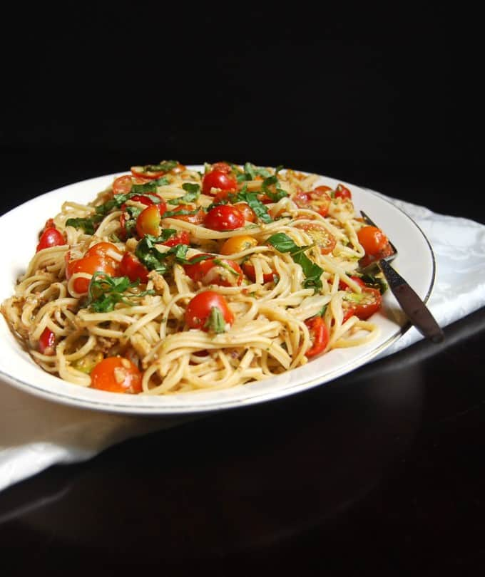 Linguini Fini with No Cook Tomato Sauce