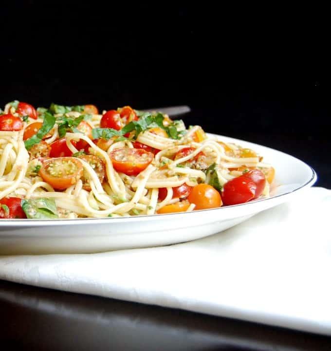 Linguini Fini with No Cook Tomato Sauce