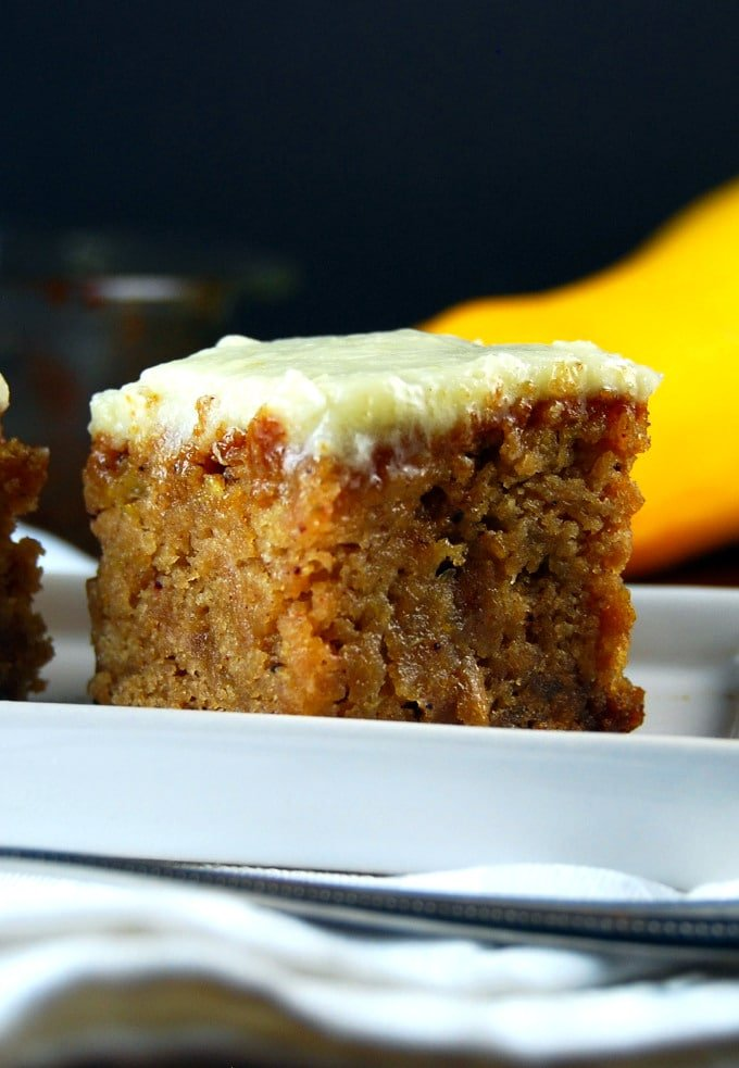 Closeup of a square of Yellow Squash Cake with Pineapple Frosting.