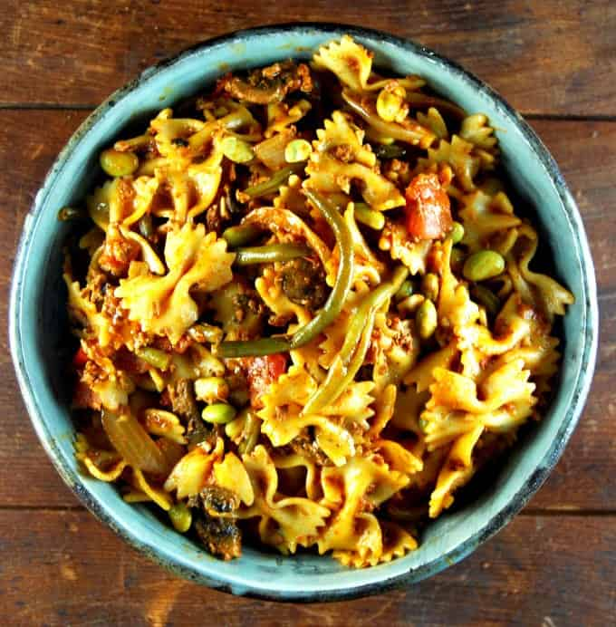 Farfalle with Chorizo and Greens. Vegan, sauce is gluten-free.