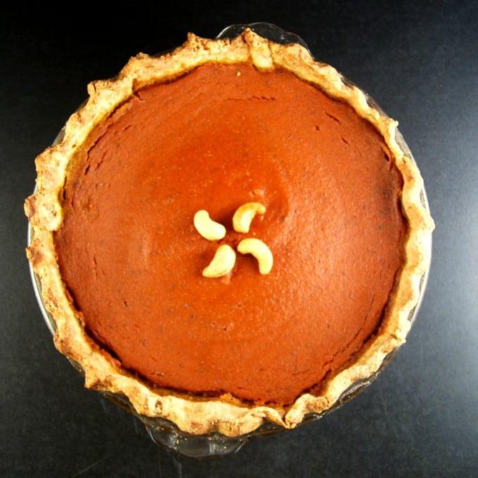 Photo of Vegan Pumpkin Pie with a Coconut Oil Crust. Vegan. Wholegrain. Soy-free.