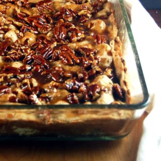 Slab Apple Pie with Salted Caramel Pecan Sauce
