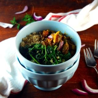 An All-Clad Giveaway. And Kadai Tofu Bowl with Garlicky Sauteed Spinach and Quinoa-Cumin Pilaf