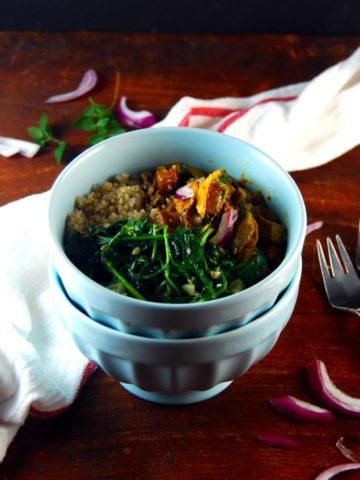 Karahi Tofu Bowl with Sauteed Garlicky Spinach and Quinoa-Cumin Pilaf. #vegan #glutenfree #giveaway