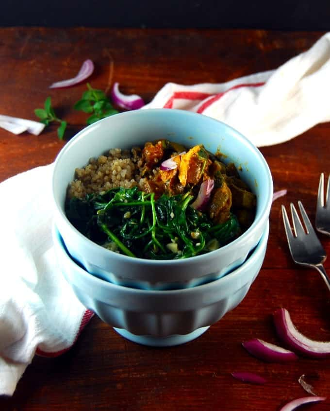 Kadai Tofu Bowl with garlicky sauteed spinach and quinoa.