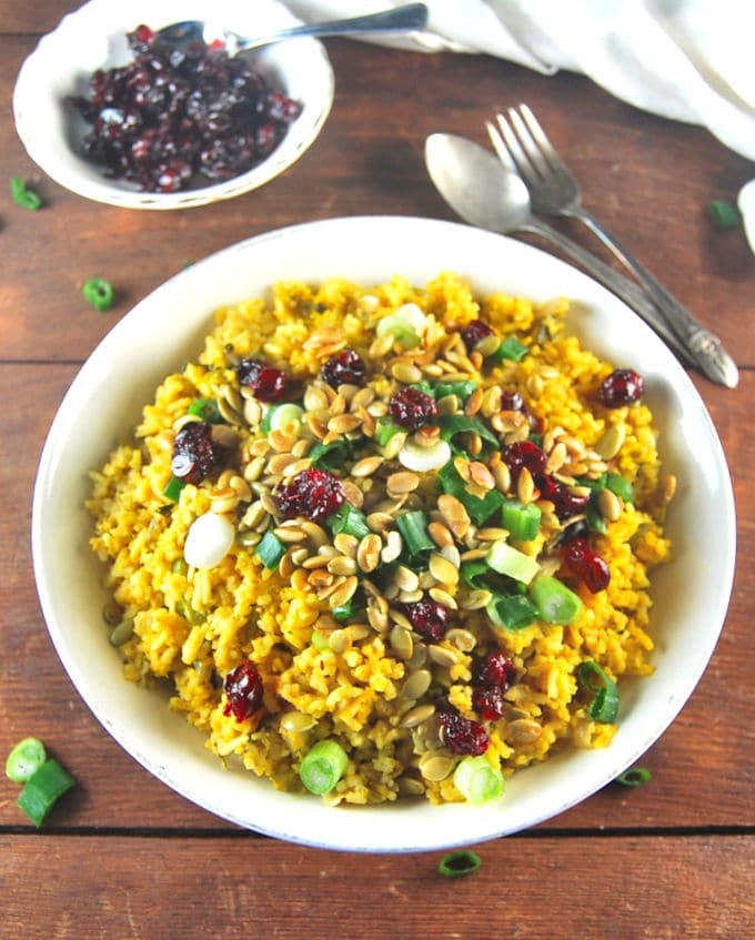 Pumpkin Biryani with candied cranberries