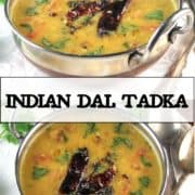 """Indian dal tarka images with text inlay that says """"Indian dal tadka"""""""