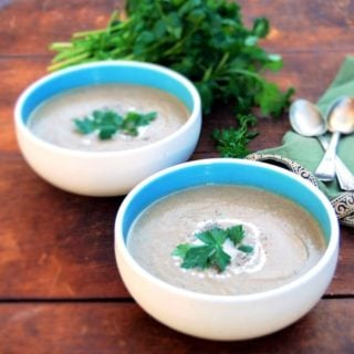 Smoky Roasted Eggplant Soup with Za'atar. Fat Free.