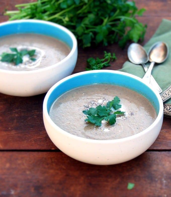 Smoky Roasted Eggplant Soup with Za'atar - holycowvegan.net