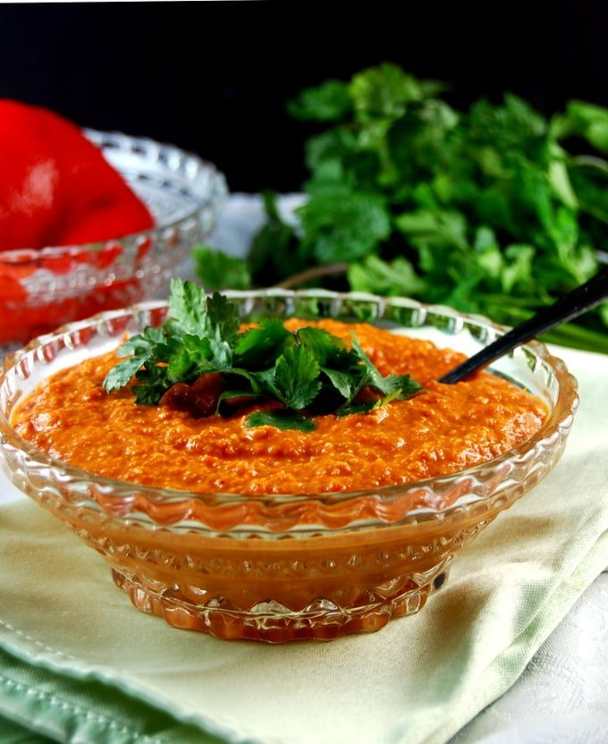 Crystal glass bowl with Roasted Red Pepper Chutney.