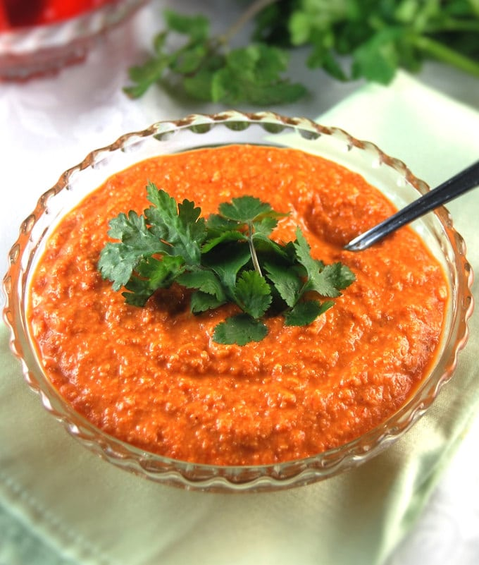 Bowl with Roasted Red Pepper Chutney and cilantro.