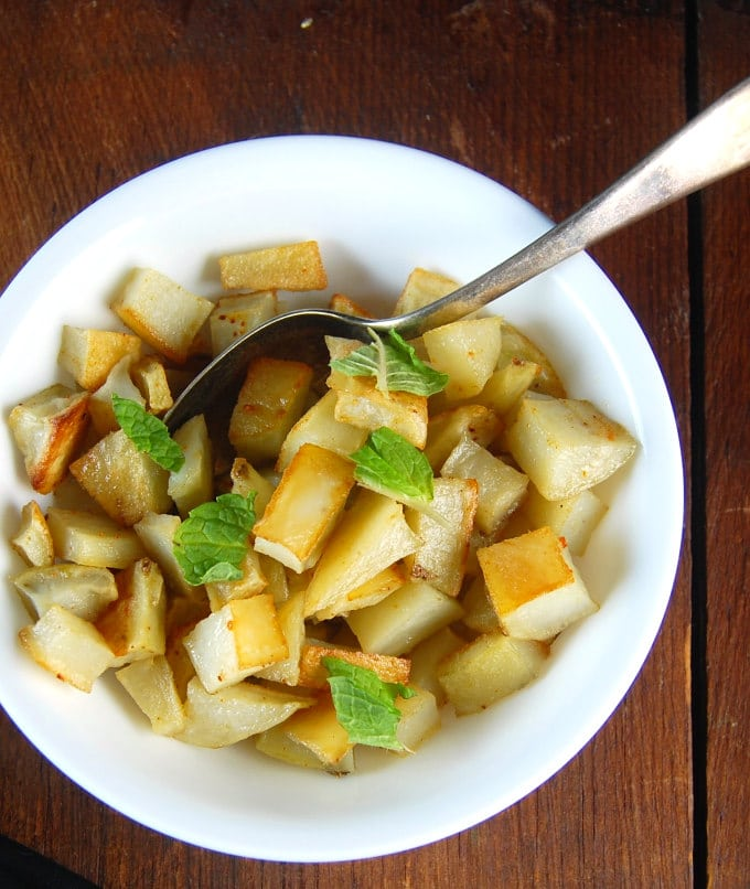 Photo of potato cubes in a bowl.
