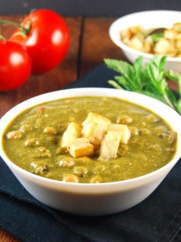 Saag Chana or Saag Chole, Chickpeas with Greens