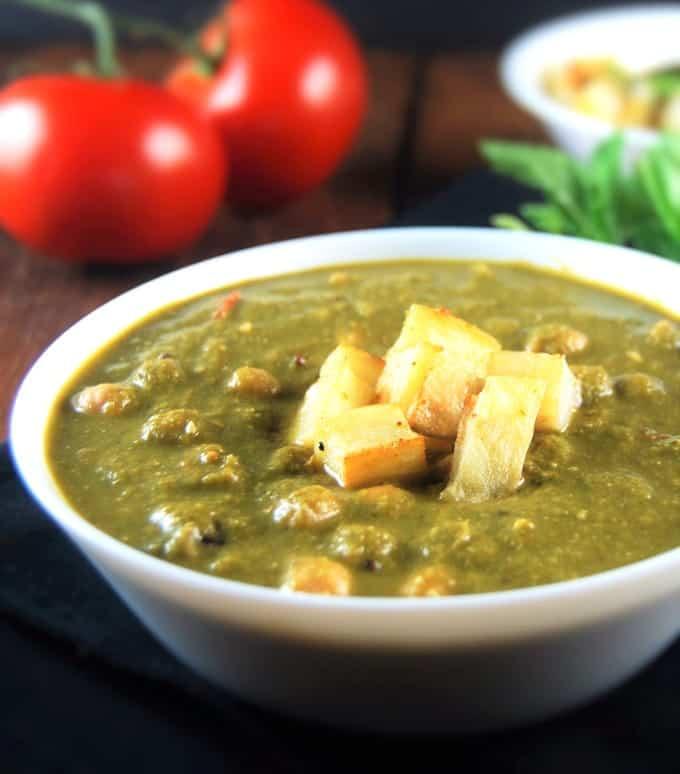Saag Chana or Saag Chole, Chickpeas with Greens