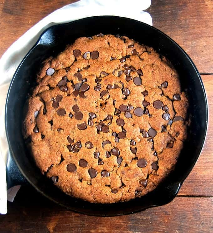 Giant Vegan Banana Chocolate Chip Skillet Cookie for a Crowd • Holy ...