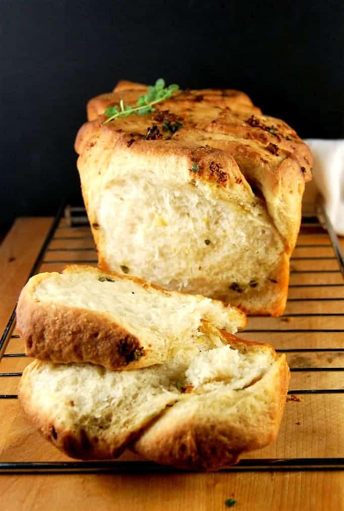 Sliced cross section of Vegan Garlic Herb Bread (Pull Apart Loaf)
