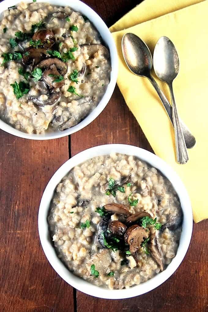 Vegan Mushroom Barley Risotto in a Pressure Cooker