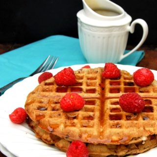 Vegan Raspberry White Chocolate Waffles, Whole Wheat