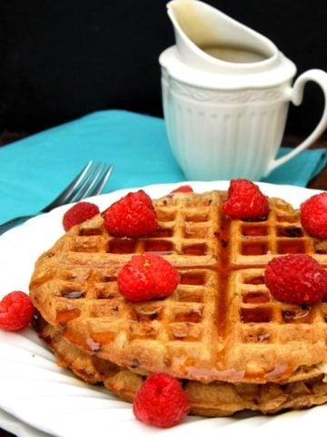 Vegan Raspberry White Chocolate Waffles
