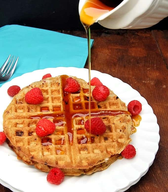 Vegan Raspberry White Chocolate Waffles