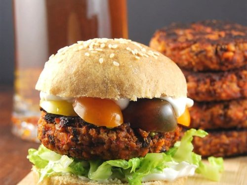 Kidney Bean And Roasted Red Pepper Burger Holy Cow Vegan Recipes