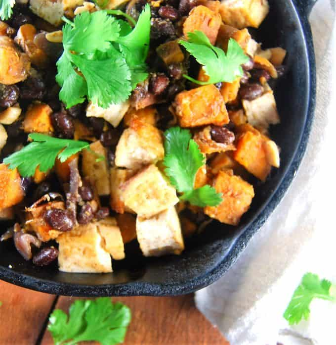 Mexican Sweet Potato Hash with Black Beans and Tofu