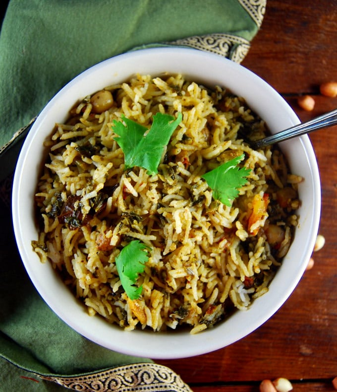 Spinach Biryani with peanuts