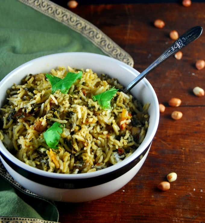 Spinach Biryani with peanuts