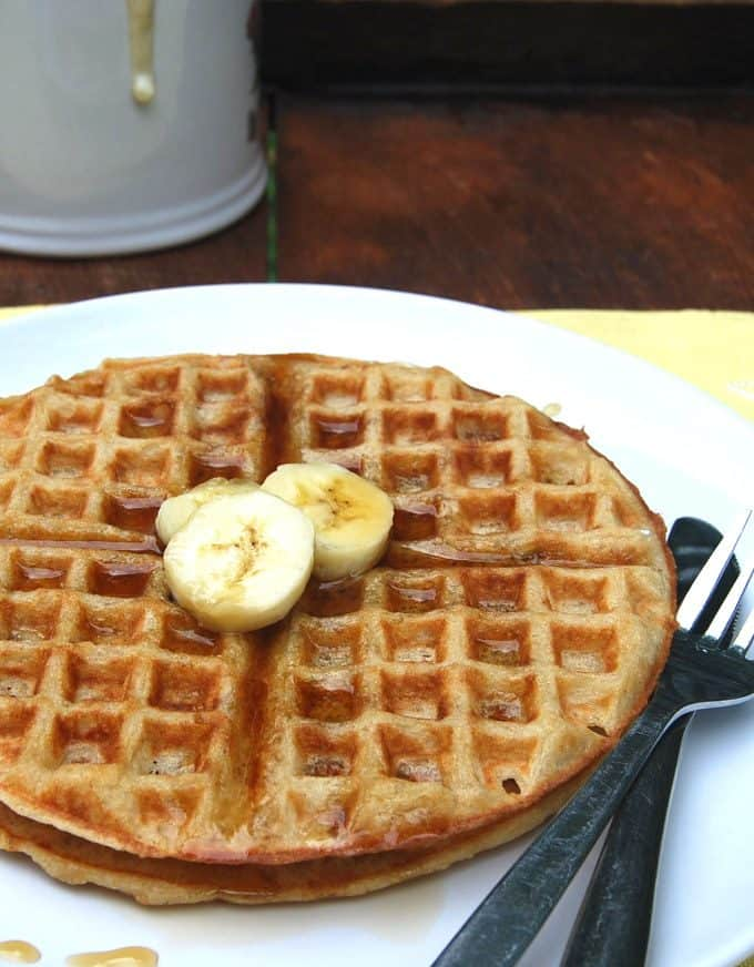 Vegan sourdough waffles, whole wheat