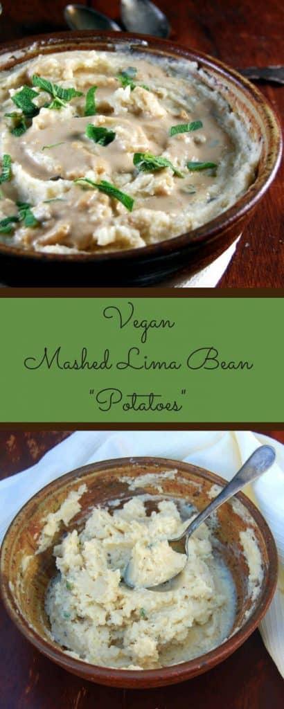 "Mashed lima bean ""potatoes"" with vegan onion gravy - holycowvegan.net"