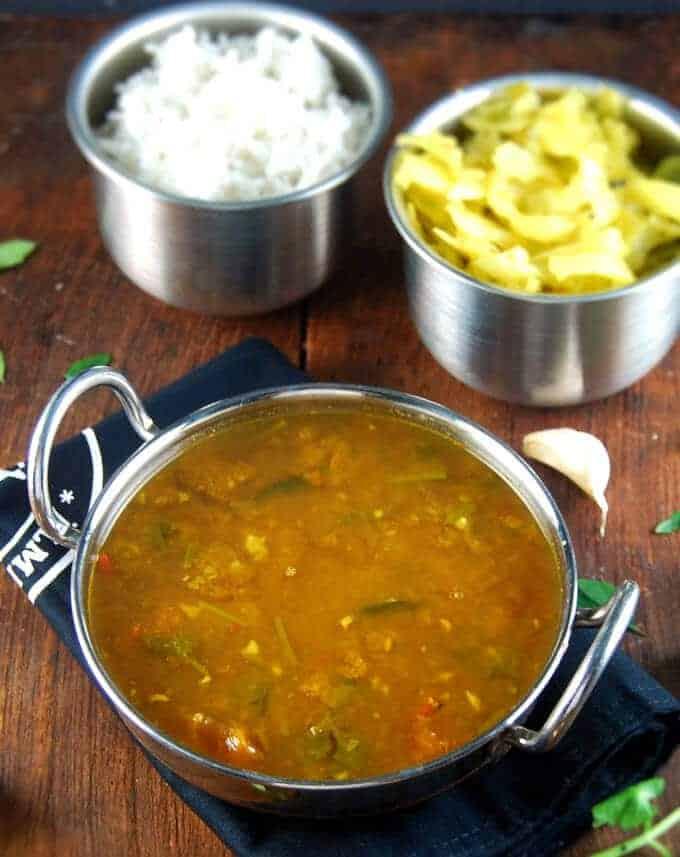 Garlic rasam or aromatic lentil soup