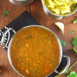 Garlic rasam or aromatic lentil soup