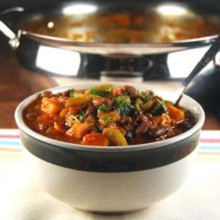 Vegan Three Bean Chili with Fall Veggies