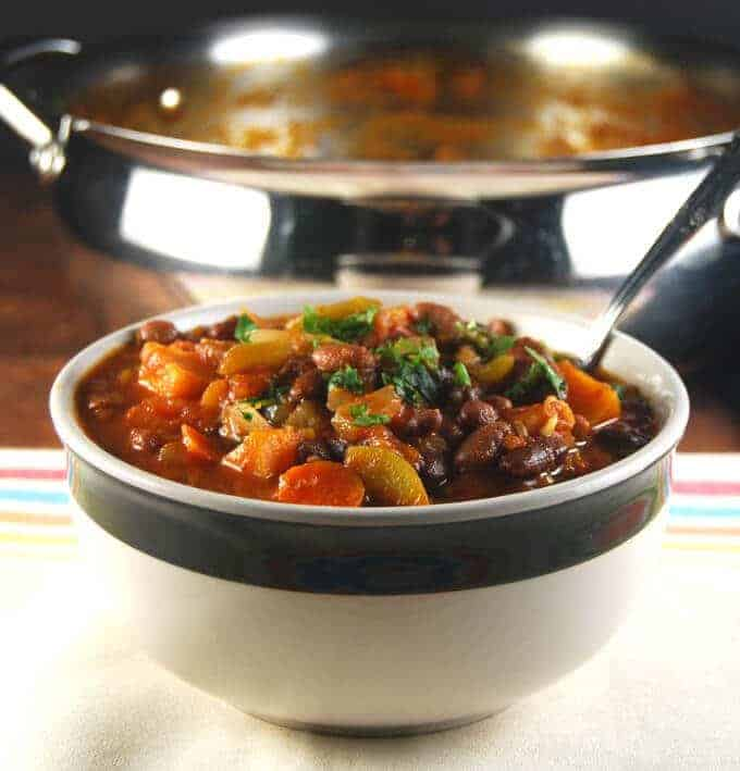 Vegan Three Bean Chili with Fall Veggies