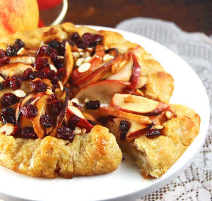 Ginger Apple Crostate with cranberries and toasted almonds - holycowvegan.net