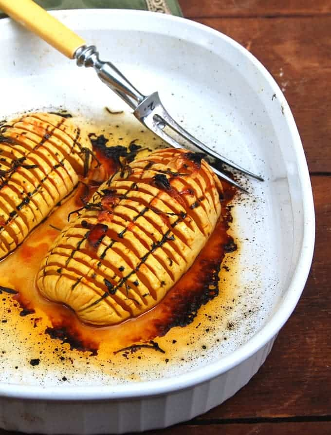 Hasselback Delicata Squash with Rosemary and Garlic - holycowvegan.net