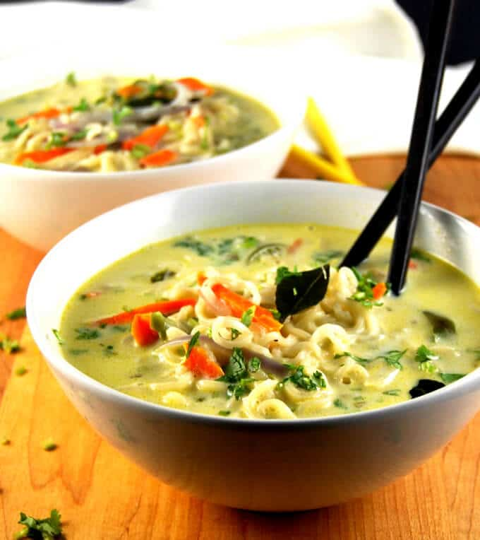 Ramen noodles in a south Indian coconut stew
