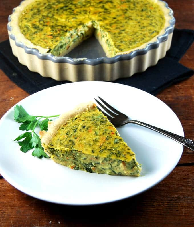 Soy Free Spinach Chickpea Quiche - holycowvegan.net