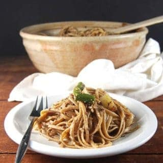 Linguine with Vegan Olive Pesto
