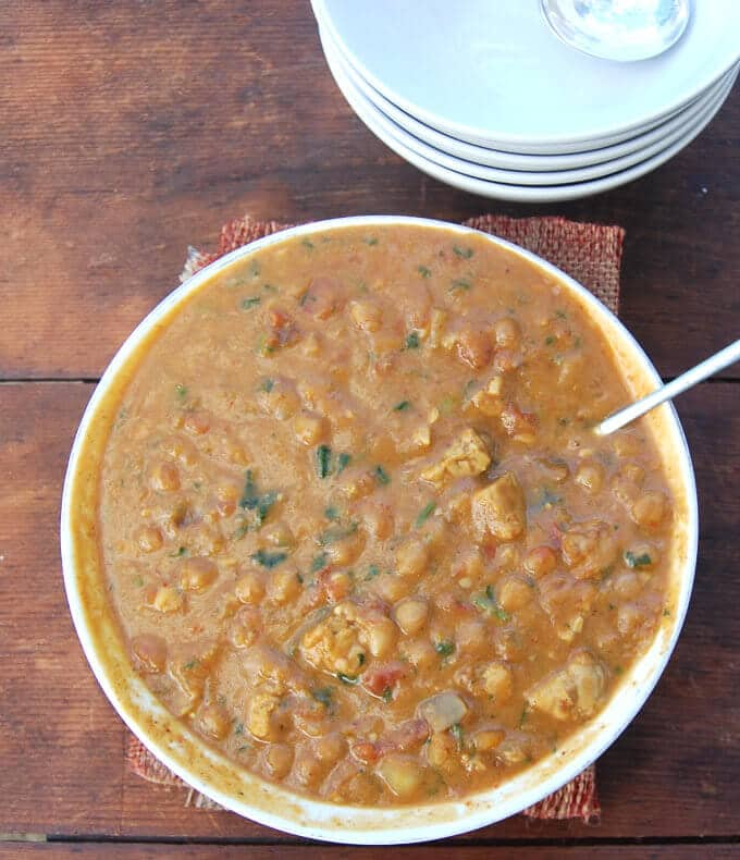Tempeh Butternut Squash Chickpea Stew with Harissa - holycowvegan.net