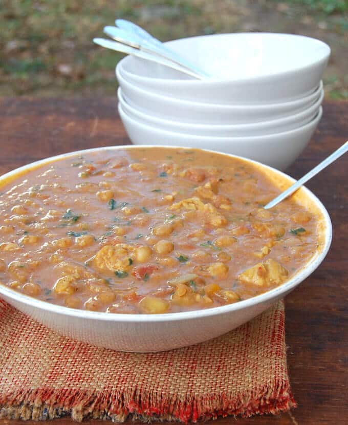 Tempeh Butternut Squash Chickpea Stew with Harissa - holycowvegan.net