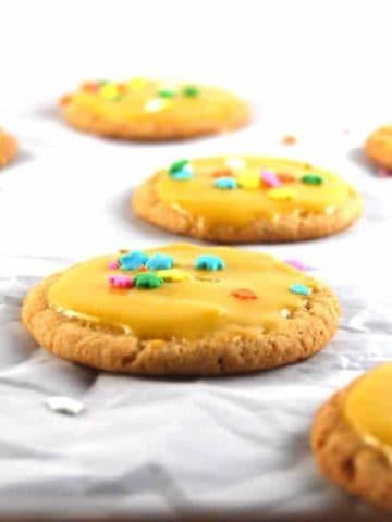Vegan Cardamom Sugar Cookies with Mango Icing - holycowvegan.net
