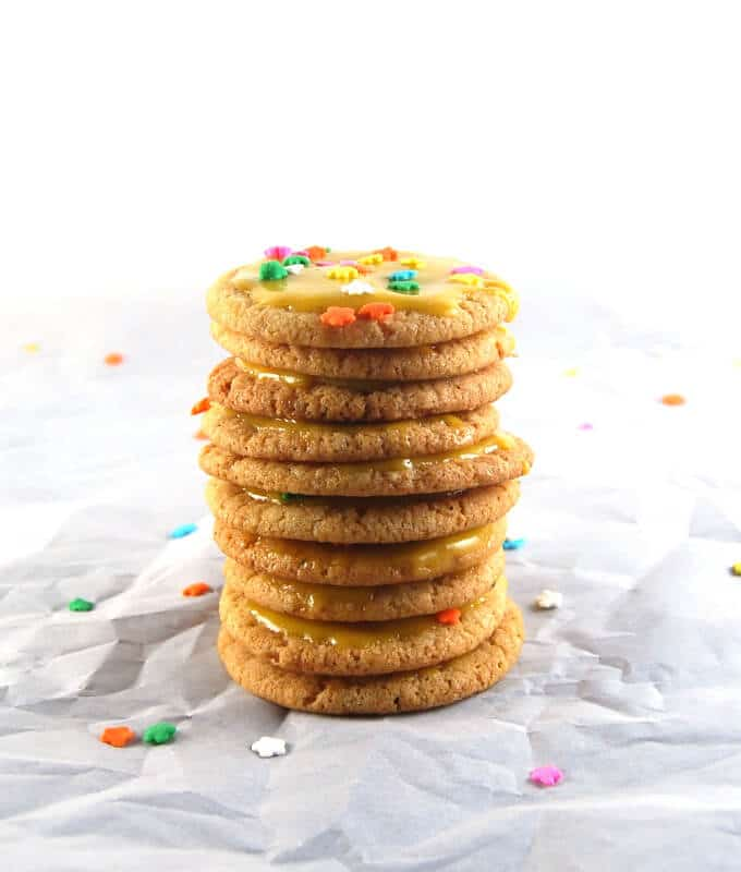 Vegan Cardamom Sugar Cookies with Mango Icing - holycowvegan.net