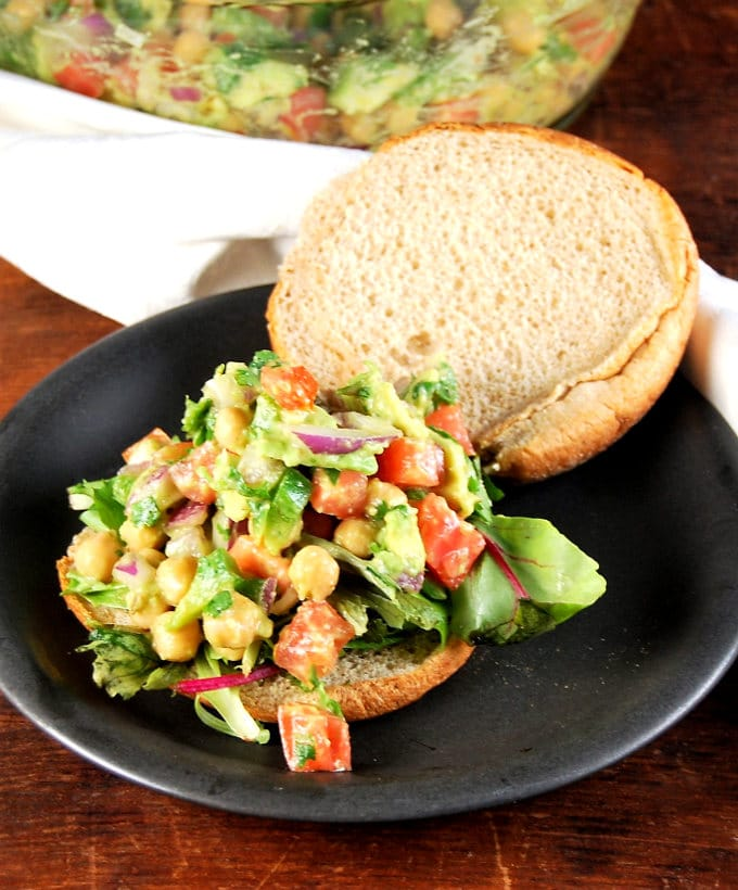 Vegan chickpea avocado salad for wraps and sandwiches - holycowvegan.net