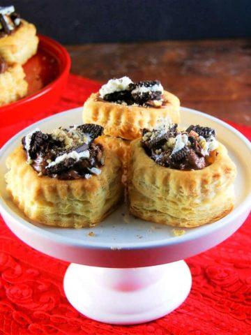 Vegan Chocolate Mousse Oreo Stuffed Puff Pastry Shells